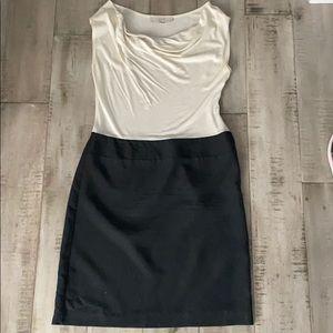 Black and cream loft drape neck dress. Size S.